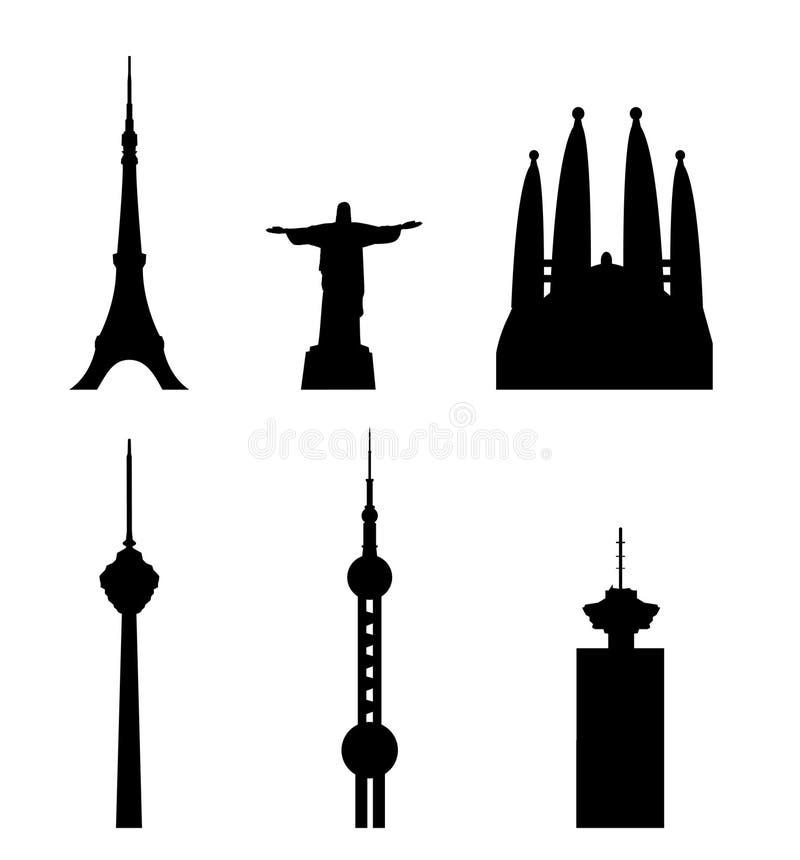 Toekomstige en huidige wereldoriëntatiepunten vector illustratie