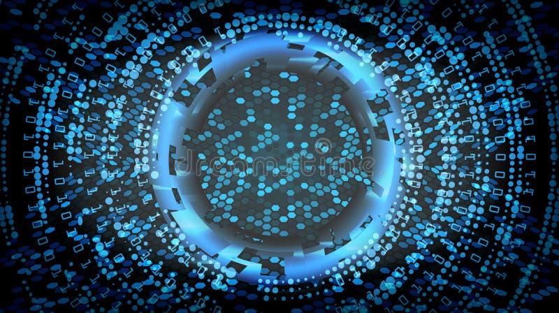 Toekomstige het Conceptenachtergrond van Technologiecyber Abstracte Veiligheidscyberspace De elektronische Gegevens verbinden Glo royalty-vrije illustratie