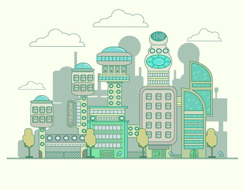 Toekomstige stad royalty-vrije illustratie