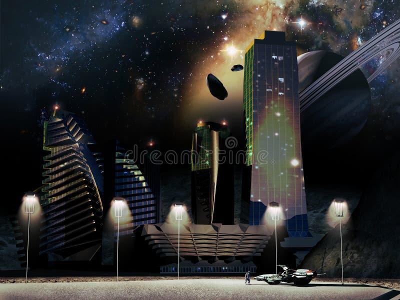 Toekomstige stad stock illustratie