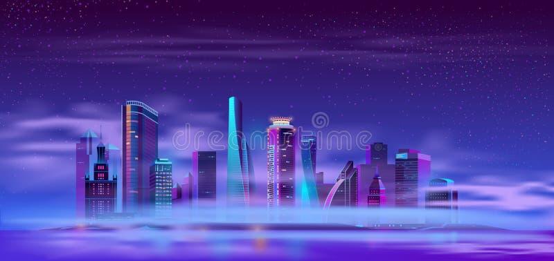 Toekomstige stad op de kunstmatige vector van het eilandbeeldverhaal royalty-vrije illustratie