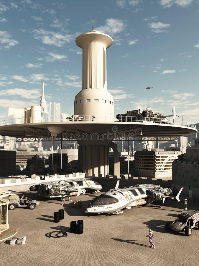Toekomstige Stad Spaceport vector illustratie