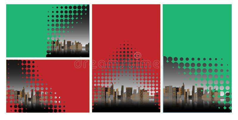 Toekomstige stads vlakke illustratie stedelijk cityscape malplaatje met moderne gebouwen en futuristisch verkeer Banner voor Webo vector illustratie