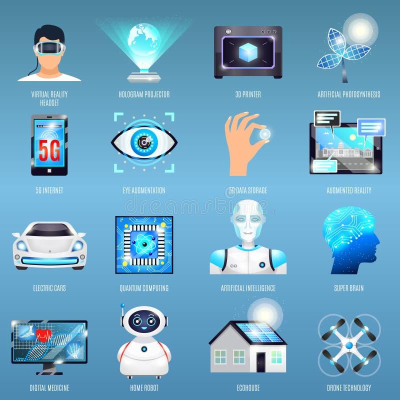 Toekomstige Technologieënpictogrammen royalty-vrije illustratie