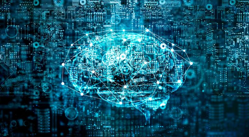 Toekomstige technologie van kunstmatige intelligentie de digitale Hersenen stock illustratie