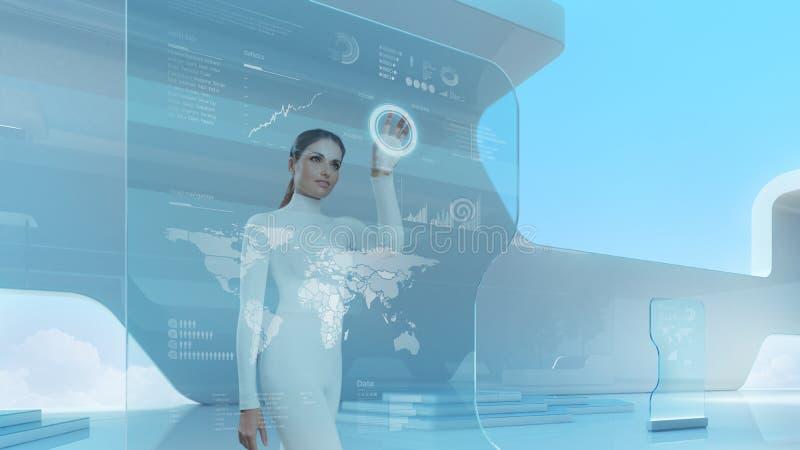Toekomstige technologietouchscreen interface. stock afbeelding