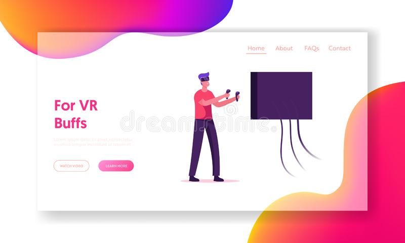 Toekomstige Technology Entertainment Industry Website Landing Page Man Gamer die VideoGame speelt in VR Goggles vector illustratie