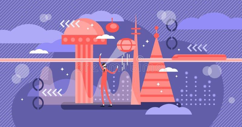 Toekomstige vectorillustratie Het vlakke uiterst kleine concept van de de stadspersoon van volgende eeuwtechnologie vector illustratie