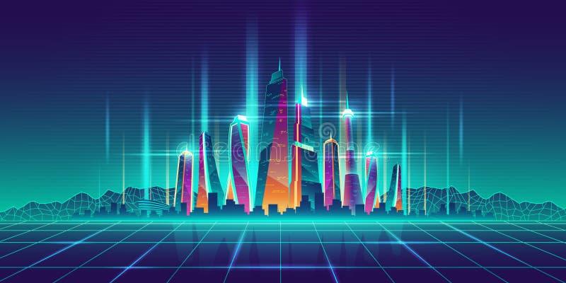 Toekomstige virtuele model het beeldverhaalvector van de metropool royalty-vrije illustratie
