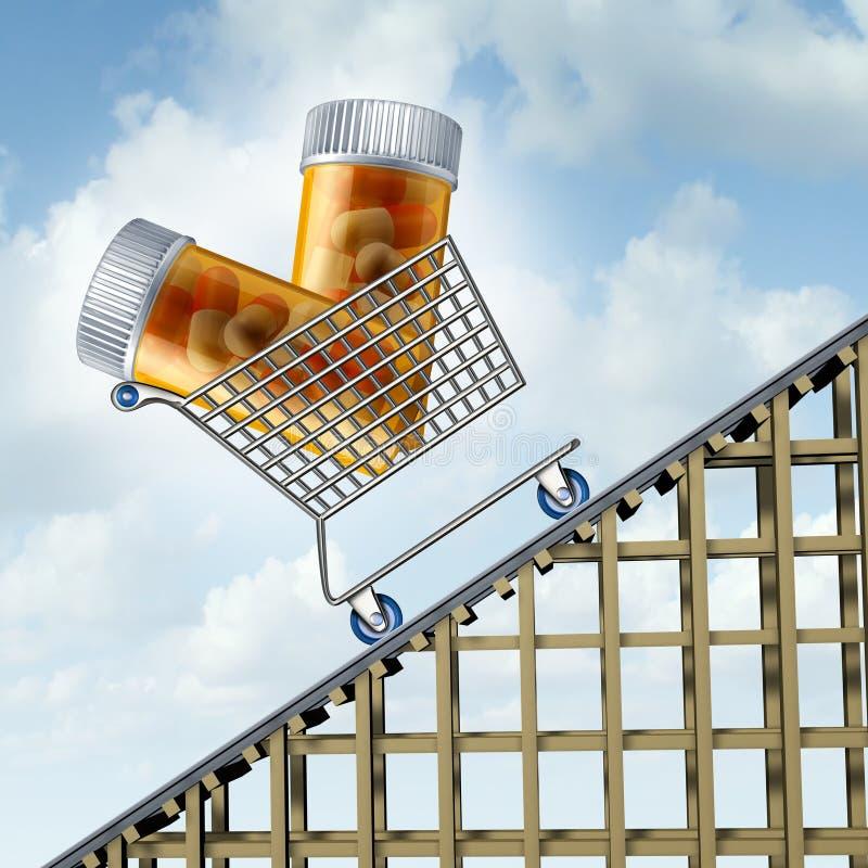 Toenemende Geneeskundekosten royalty-vrije illustratie