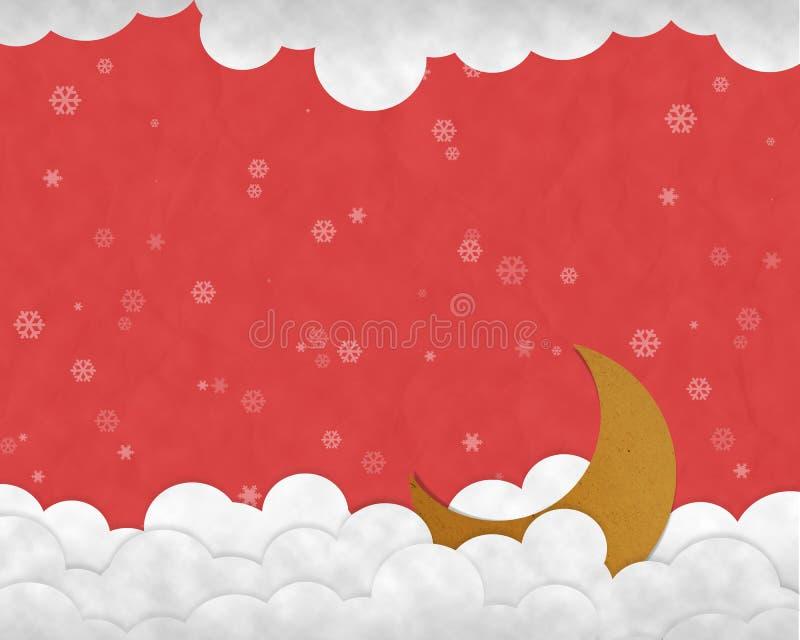Toenemende maan en sneeuwval op Kerstnachtachtergrond, Document royalty-vrije stock afbeeldingen