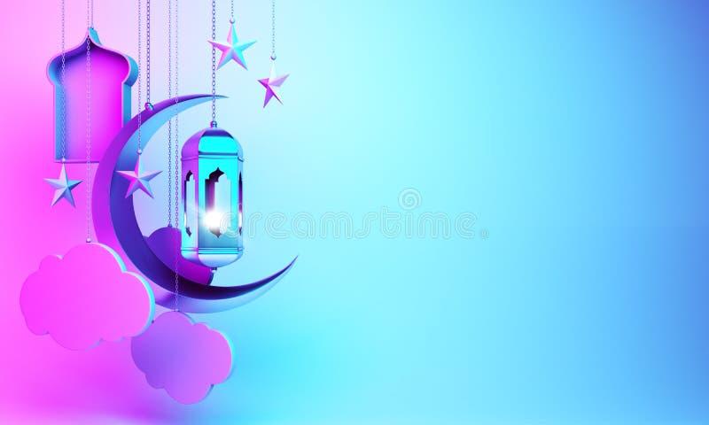 Toenemende maan, ster, hangende Arabische lamp, venster, wolk op studio die blauwe roze gradiëntachtergrond aansteken stock illustratie