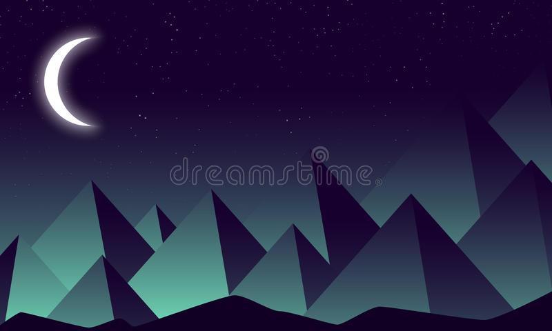 Toenemende maan tegen de achtergrond van de nachtbergen stock illustratie