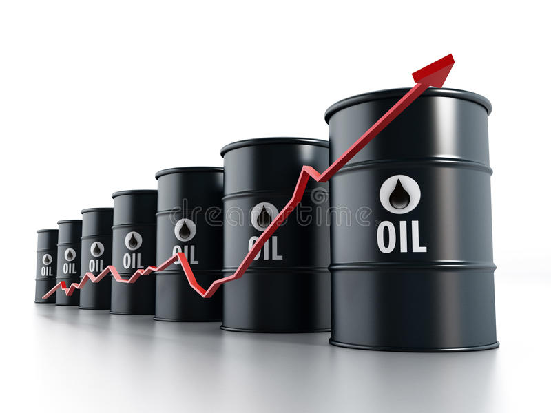 Toenemende olieprijzen stock illustratie
