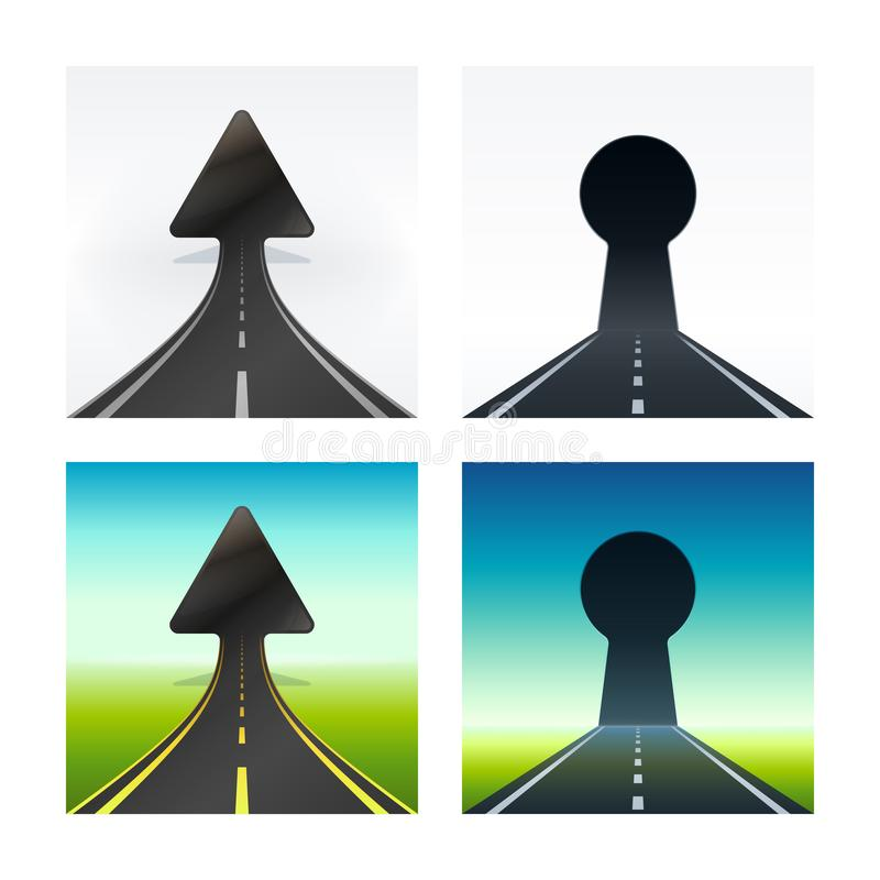 Toenemende pijl gestalte gegeven manier in natuurlijk landschap vector illustratie