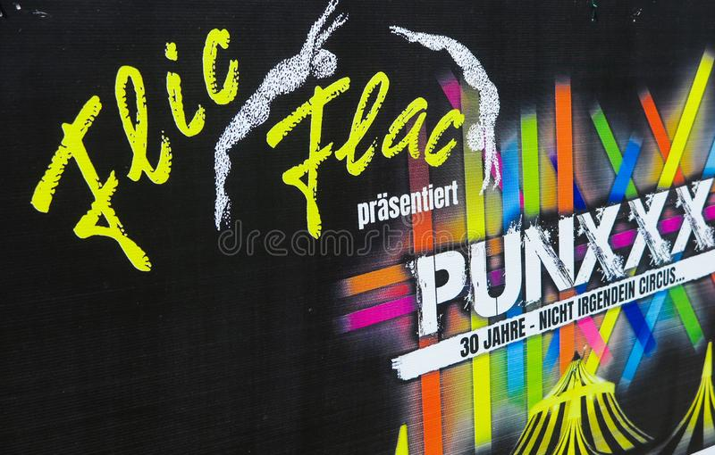 TOENISVORST, GERMANY - JUIN 28. 2019: Close up of cardboard advertising of Flic Flac anniversary tour Punxxx royalty free stock photography