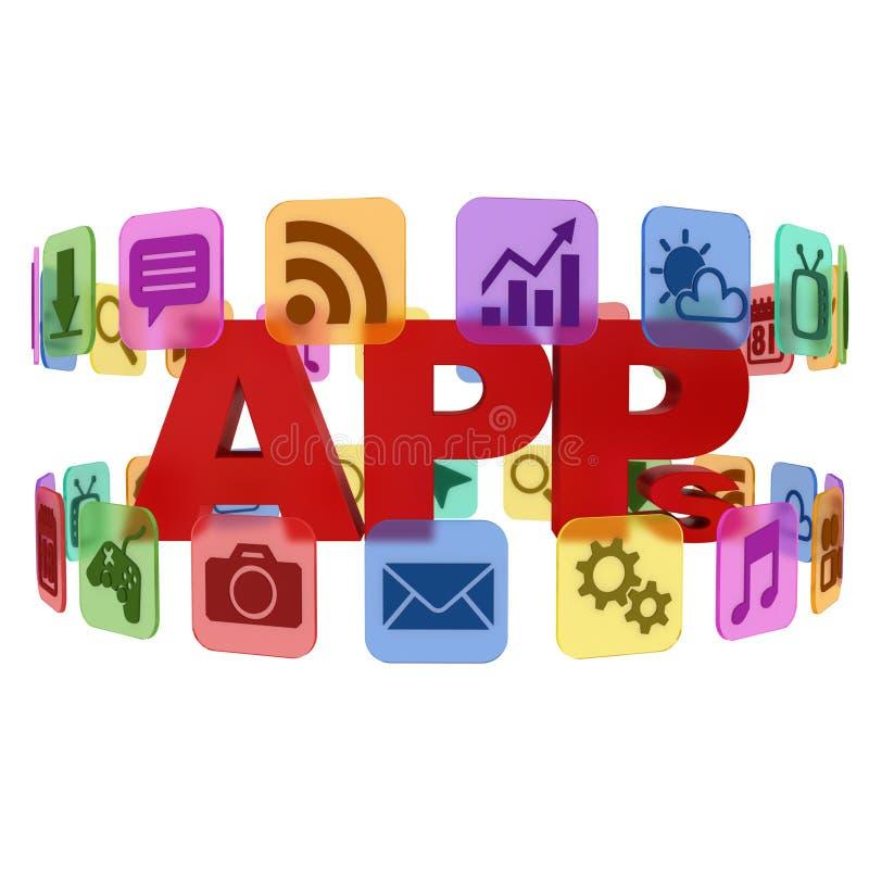 Toepassing - 3d app pictogrammen royalty-vrije illustratie