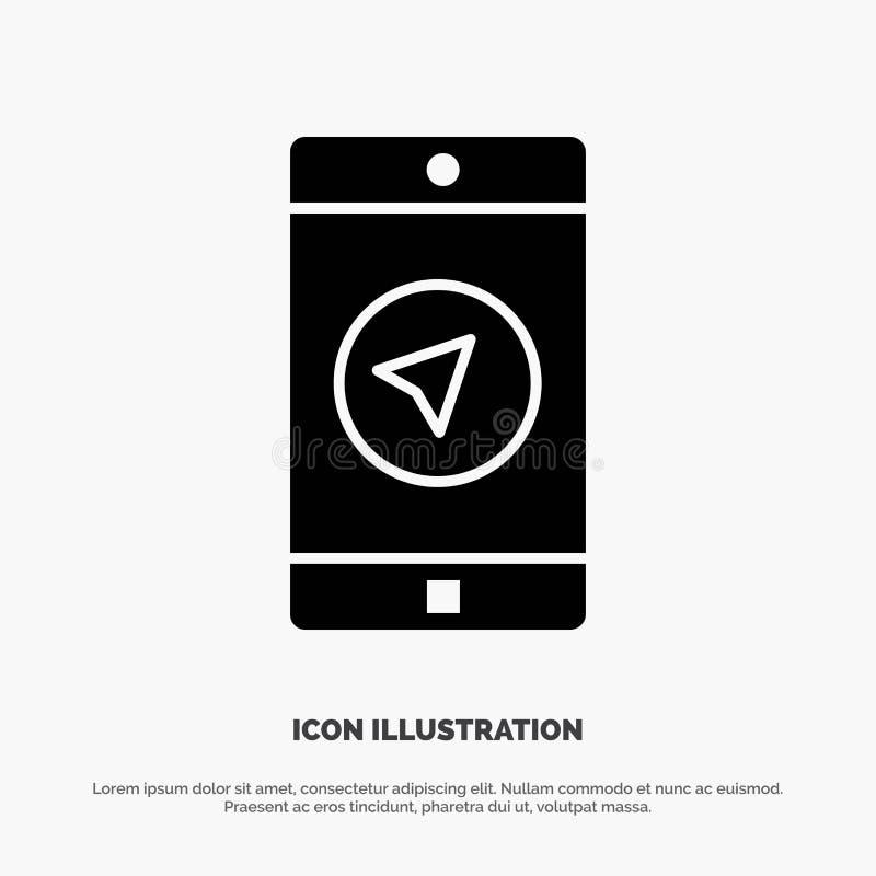 Toepassing, Bericht, Mobiele toepassingen, poniter stevige Glyph-Pictogramvector vector illustratie
