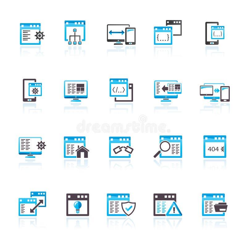 Toepassing de pictogrammen van de programmeringssoftware vector illustratie