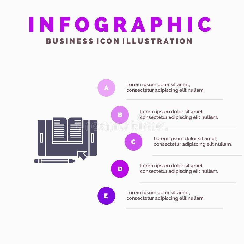 Toepassing, Dossier, Smartphone, Tablet, Overdracht Stevig Pictogram Infographics 5 de Achtergrond van de Stappenpresentatie royalty-vrije illustratie