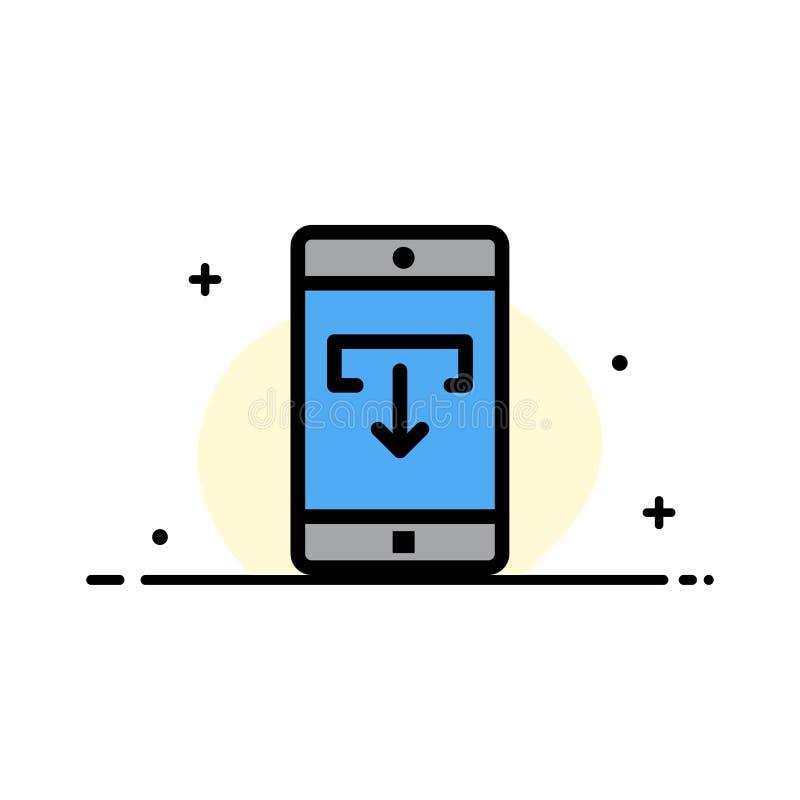 Toepassing, Gegevens, Download, het Mobiele, Mobiele Malplaatje Toepassings van de Bedrijfs Vlakke Lijn Gevulde Pictogram Vectorb royalty-vrije illustratie