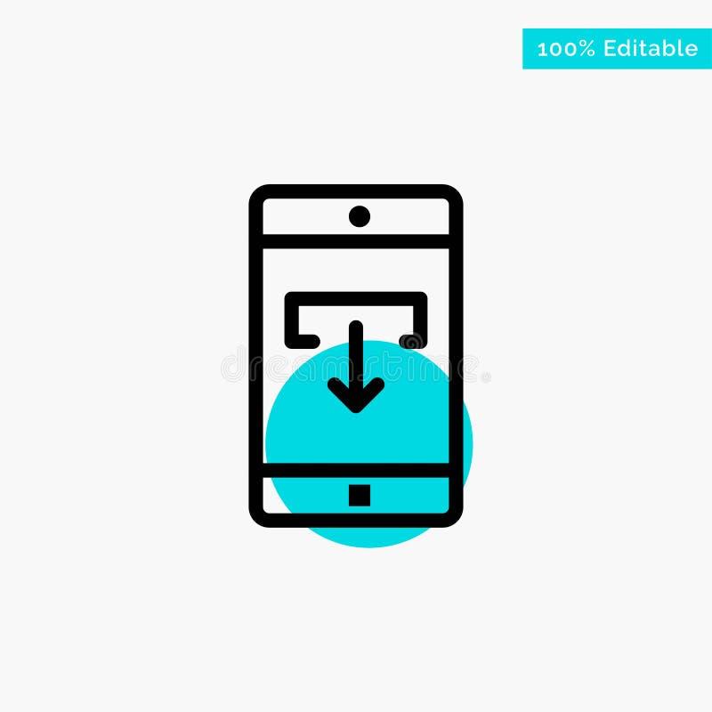 Toepassing, Gegevens, Download, het Mobiele, Mobiele van het de cirkelpunt van het Toepassings turkooise hoogtepunt Vectorpictogr stock illustratie