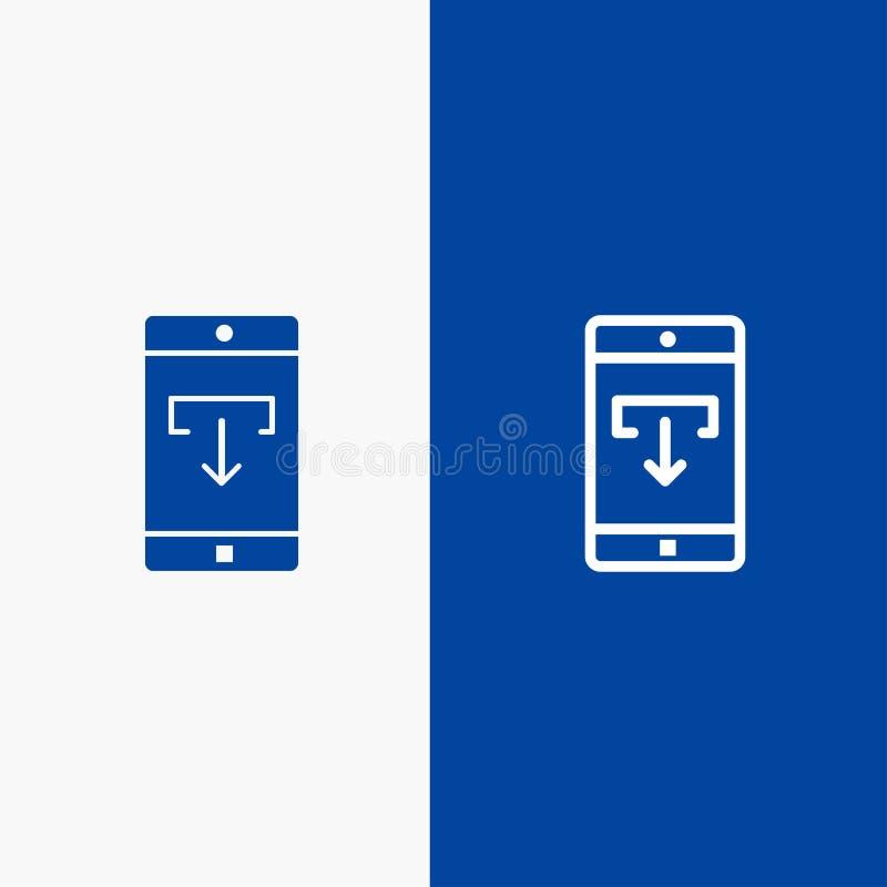 Toepassing, Gegevens, Download, Mobiele, Mobiele Toepassingslijn en Lijn van de het pictogram Blauwe banner van Glyph de Stevige  royalty-vrije illustratie