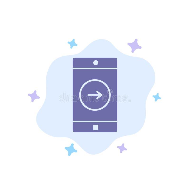 Toepassing, juist, Mobiel, Mobiel Toepassings Blauw Pictogram op Abstracte Wolkenachtergrond stock illustratie