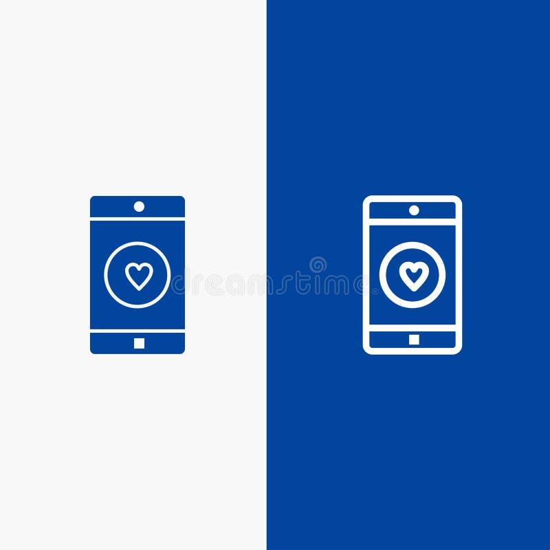 Toepassing, Mobiele, Mobiele Toepassing, als, Hartlijn en Lijn van de het pictogram Blauwe banner van Glyph de Stevige en Stevige vector illustratie