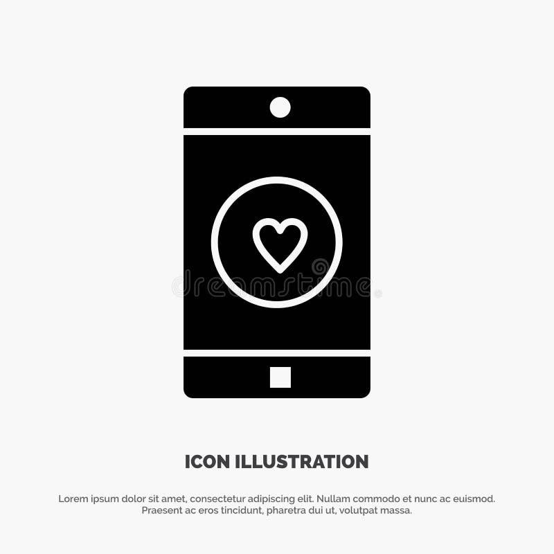 Toepassing, Mobiele, Mobiele Toepassing, als, het Pictogramvector van Hart stevige Glyph royalty-vrije illustratie