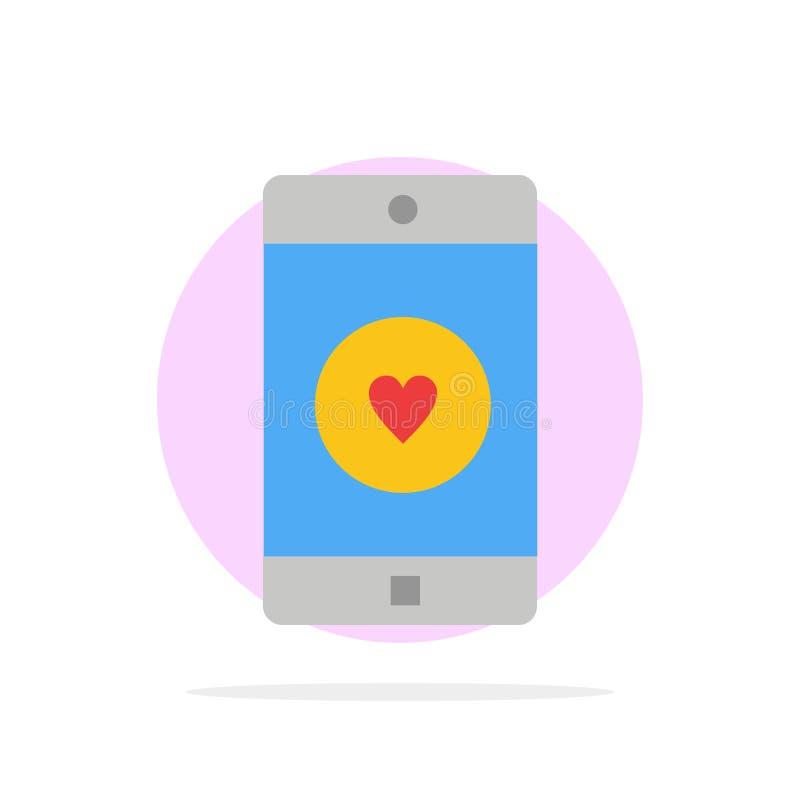 Toepassing, Mobiele, Mobiele Toepassing, als, van de Achtergrond hart Abstract Cirkel Vlak kleurenpictogram vector illustratie
