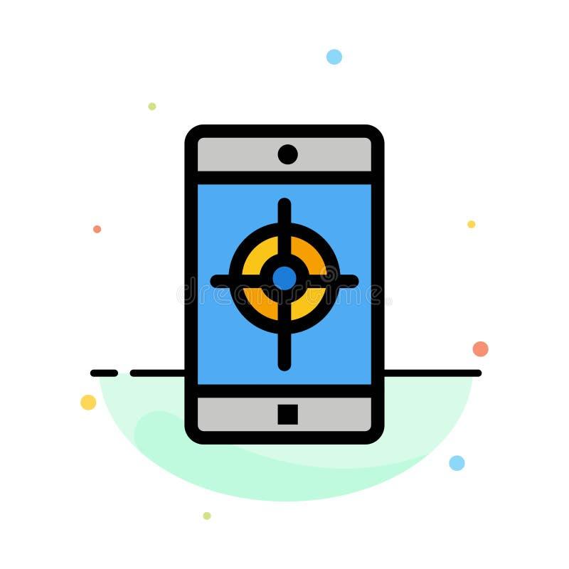 Toepassing, Mobiele, Mobiele Toepassing, het Pictogrammalplaatje van de Doel Abstract Vlak Kleur royalty-vrije illustratie