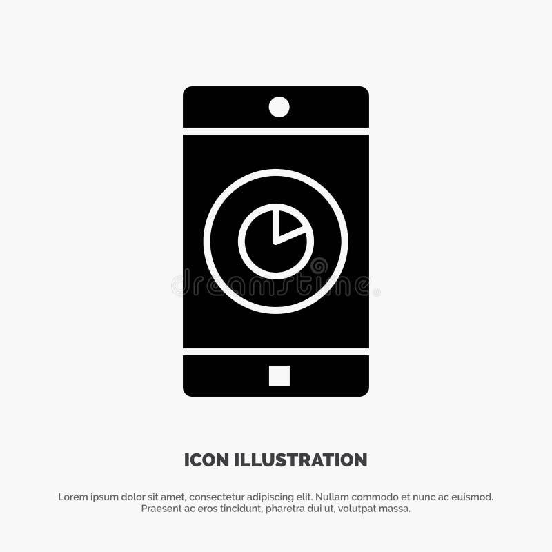 Toepassing, Mobiele, Mobiele Toepassing, het Pictogramvector van Tijd stevige Glyph royalty-vrije illustratie
