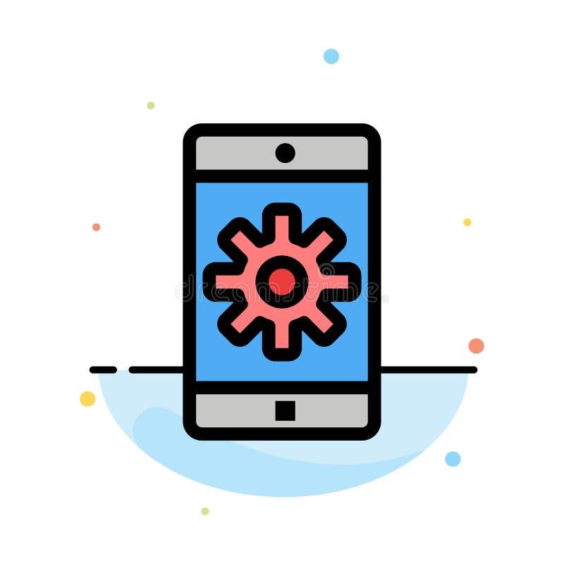 Toepassing, Mobiele, Mobiele Toepassing, het Plaatsen het Abstracte Vlakke Malplaatje van het Kleurenpictogram royalty-vrije illustratie