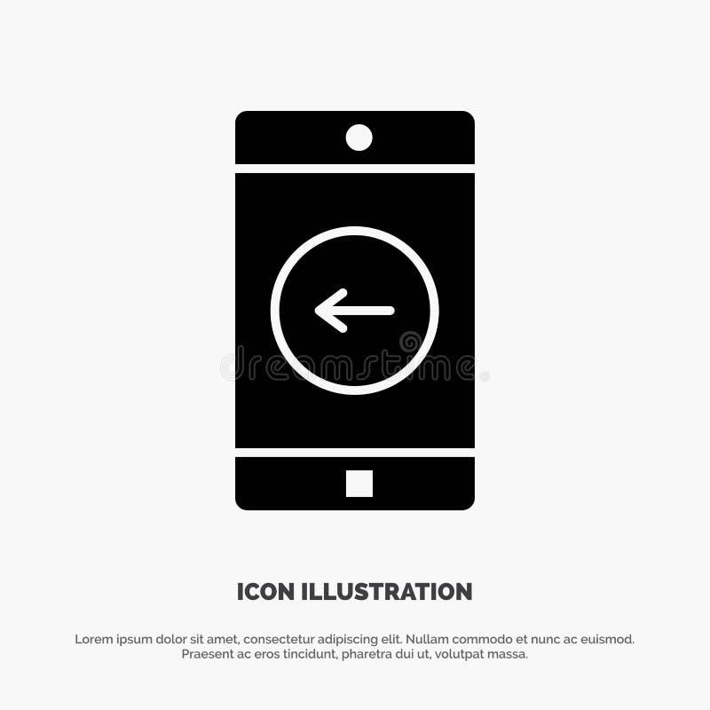 Toepassing, Mobiele, Mobiele Toepassing, linker stevige Glyph-Pictogramvector royalty-vrije illustratie