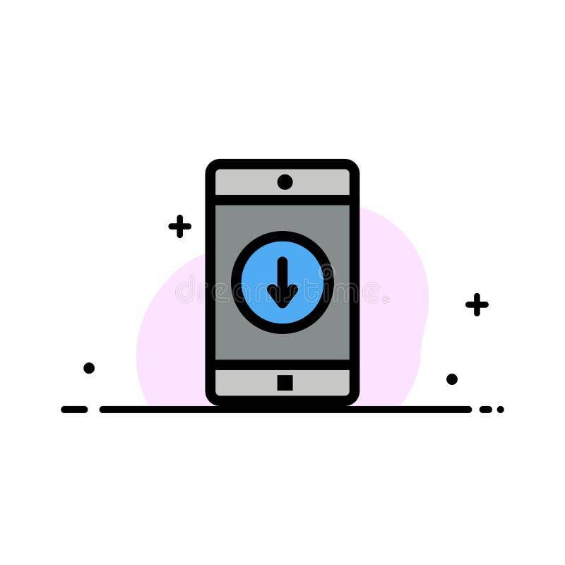 Toepassing, Mobiele, Mobiele Toepassing, onderaan, Malplaatje Pijl van de Bedrijfs het Vlakke Lijn Gevulde Pictogram Vectorbanner stock illustratie