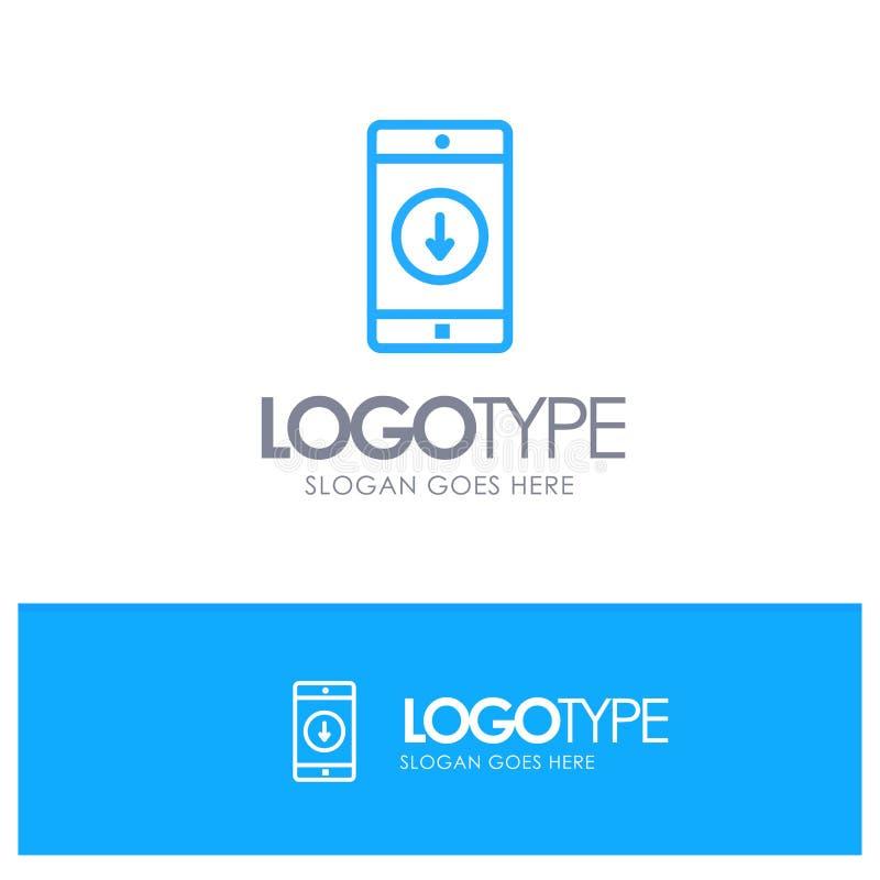Toepassing, Mobiele, Mobiele Toepassing, onderaan, Pijl Blauw Overzicht Logo Place voor Tagline stock illustratie
