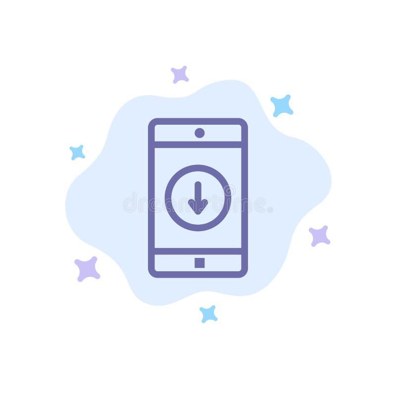Toepassing, Mobiele, Mobiele Toepassing, onderaan, Pijl Blauw Pictogram op Abstracte Wolkenachtergrond royalty-vrije illustratie