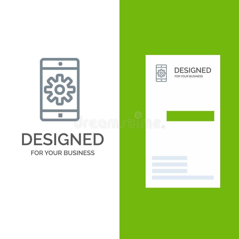 Toepassing, Mobiele, Mobiele Toepassing, Plaatsend Grey Logo Design en Visitekaartjemalplaatje royalty-vrije illustratie