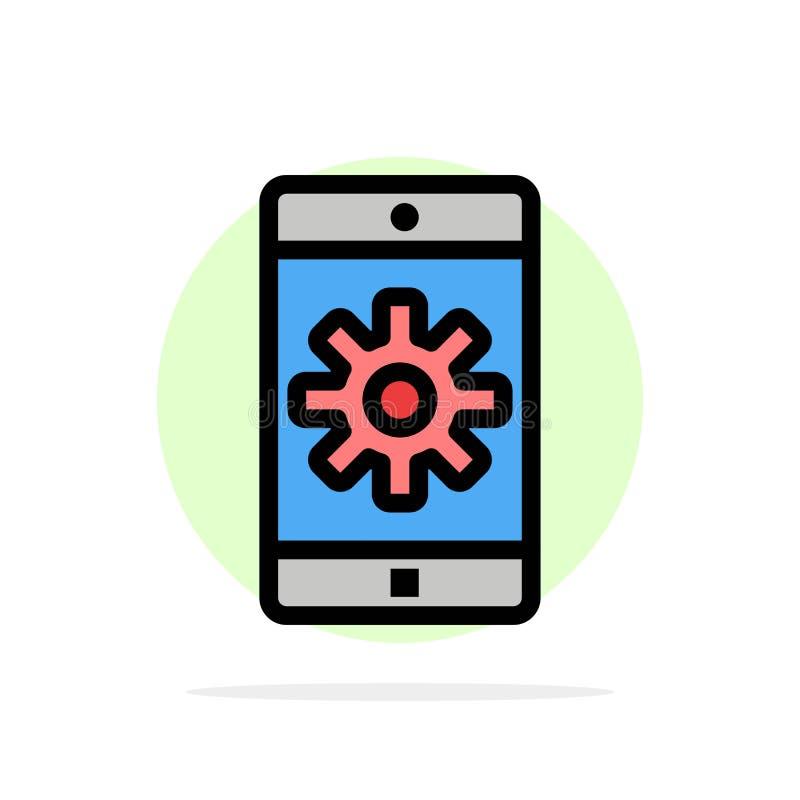 Toepassing, Mobiele, Mobiele Toepassing, Plaatsende Abstracte Cirkelachtergrond Vlak kleurenpictogram royalty-vrije illustratie