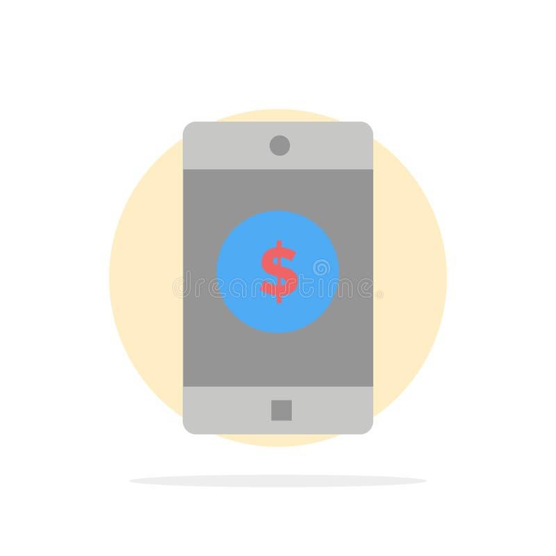Toepassing, Mobiele, Mobiele Toepassing, van de Achtergrond dollar Abstract Cirkel Vlak kleurenpictogram royalty-vrije illustratie