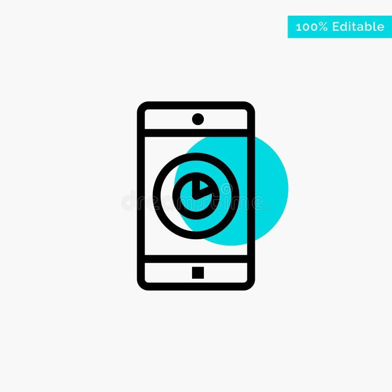 Toepassing, Mobiele, Mobiele Toepassing, van het de cirkelpunt van het Tijd het turkooise hoogtepunt Vectorpictogram royalty-vrije illustratie