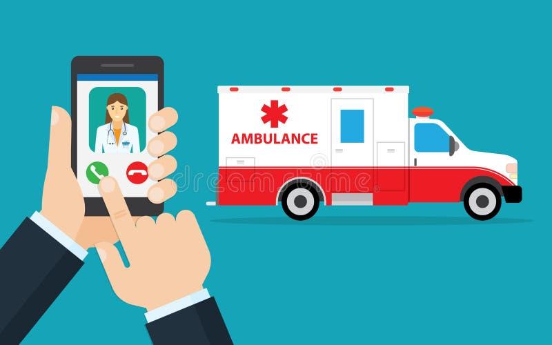 Toepassing om ziekenwagen te roepen stock illustratie