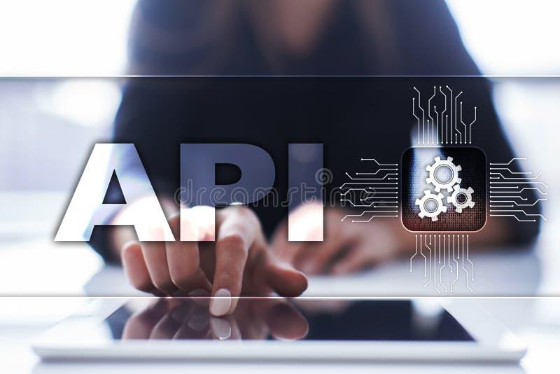 Toepassing programmeringsinterface API Software-ontwikkelingconcept stock foto's