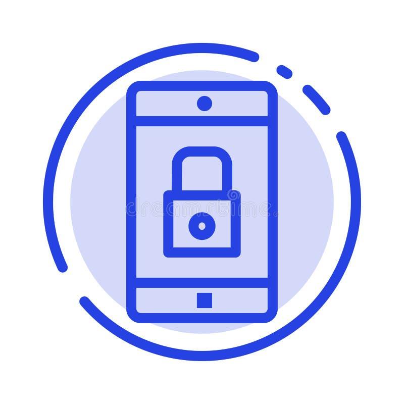 Toepassing, Slot, Slottoepassing, Mobiel, Mobiel de Lijnpictogram van de Toepassings Blauw Gestippelde Lijn vector illustratie