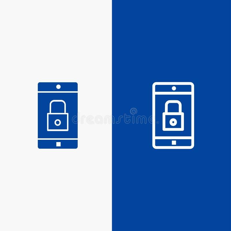Toepassing, Slot, Slottoepassing, Mobiele, Mobiele Toepassingslijn en Lijn van de het pictogram Blauwe banner van Glyph de Stevig stock illustratie