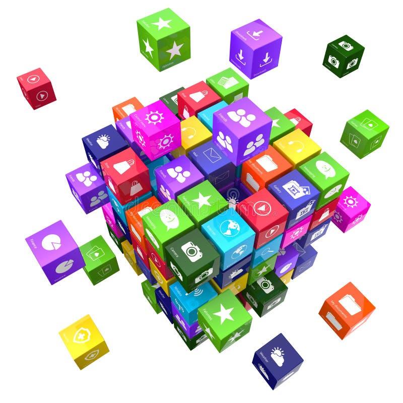 Toepassingen en de kubussen van het technologieconcept vector illustratie