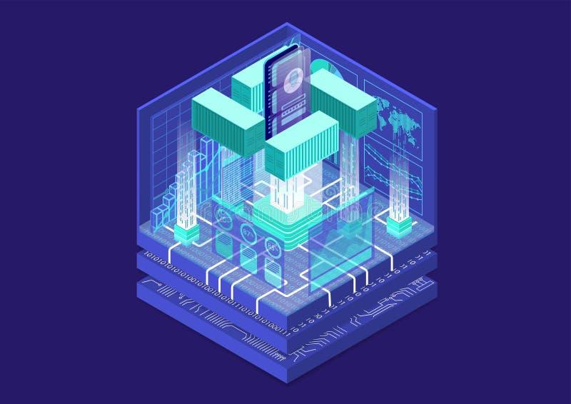 Toepassingscontainervervoer en modulair software-ontwikkelingconcept met symbool van smartphone en containers als isometrische ve vector illustratie