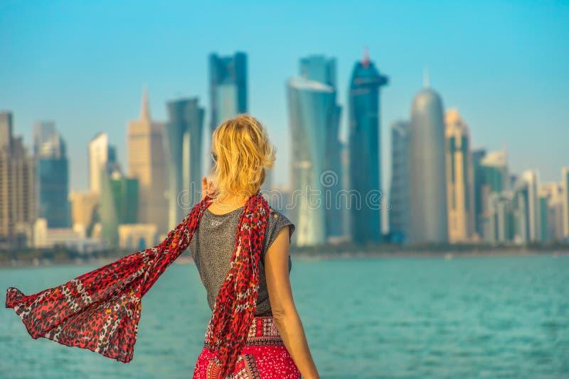Toerisme in Doha-het Westenbaai stock afbeelding