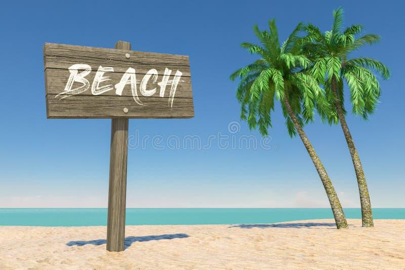 Toerisme en reisconcept Houten Richting Signbard met Strandteken in Tropisch Paradise-Strand met Witte Zand en Kokospalm royalty-vrije stock fotografie